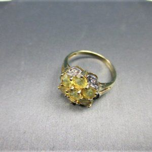 14K Gold Diamond and Citrine Ring-5.5